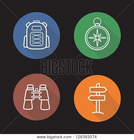 Camping flat linear long shadow icons set. Tourist backpack, navigation compass, binoculars and off road sign. Travel and tourism equipment. Outline logo concepts. Vector line art illustrations