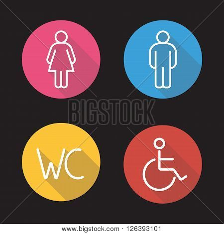 WC toilet entrance signs. Flat linear long shadow icons set. Man and woman silhouette and disabled wheelchair symbols. Restroom door icons. Outline logo concepts. Vector line art illustrations