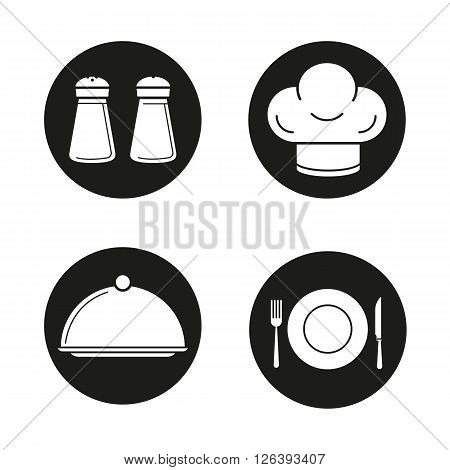 Kitchen equipment black icons set. Salt and pepper shakers and chef's hat. Covered dish, fork, plate and table knife icons. Restaurant instruments. White illustrations. Vector logo concepts