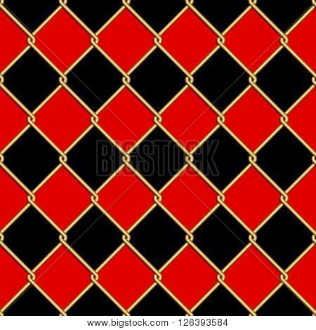Gold wire grid seamless pattern on red and black rhomboids background. Vector illustration