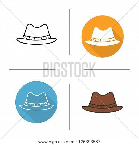Classic men's hat flat design, linear and color icons set. Homburg in different styles. Male formal attire hat. Long shadow logo concept. Isolated hat vector illustrations. Infographic elements