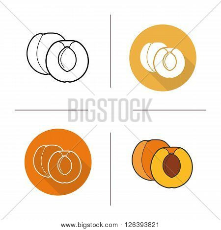 Apricot flat design, linear and color icons set. Apricot fruit in different styles. Halved apricot icons. Long shadow logo concept. Isolated vector apricot illustrations. Infographic elements