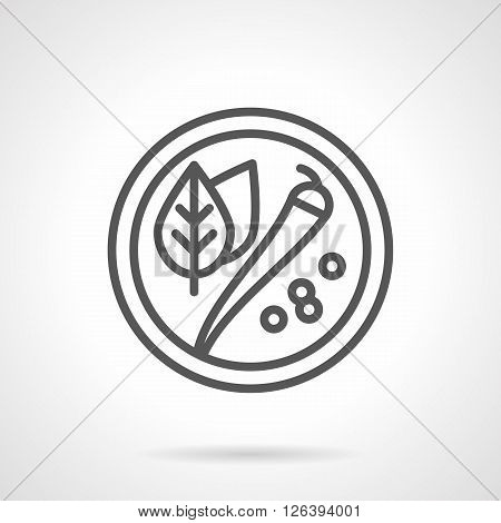 Round plate or dish with spicy leaves, hot chili pepper and black pepper. Food and ingredients. Simple black line vector icon. Single element for web design, mobile app.