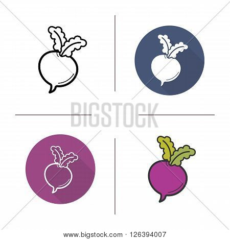 Beetroot flat design, linear and color icons set. Fresh sugar-beet and turnip with green leaves. Seasonal vegetables. Long shadow logo concepts. Isolated vector illustrations. Infographic elements