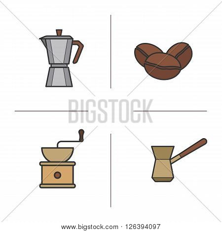 Coffee color icons set. Classic coffee maker, Turkish cezve, roasted coffee beans and vintage grinder symbols. Coffee brewing moka machine. Logo concepts. Vector isolated illustrations