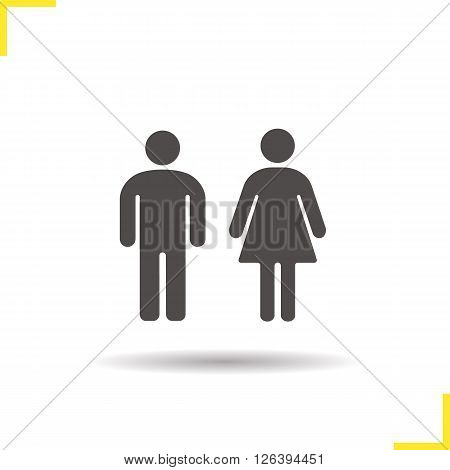 Couple icon. Drop shadow man and woman symbol. Standing man and woman silhouettes. Isolated family couple black illustration. Couple logo concept. Toilet door signs. Vector silhouette couple symbol