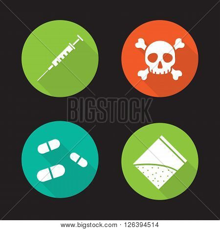 Drugs flat design long shadow icons set. Medical syringe, skull and crossbones. Pills and cocaine packet. Drugs abuse. Human death. Narcotic substances.  Logo concepts. Vector illustrations