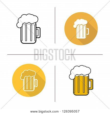 Glass of beer flat design, linear and color icons set. Pint of foamy lager. Mug of alcoholic beverage. Alcoholic drink. Long shadow logo concepts. Isolated vector illustrations. Infographic elements