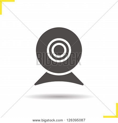 Webcam icon. Drop shadow web camera icon. Modern portable computer device. Isolated webcam black illustration. Logo concept. Vector silhouette web camera symbol