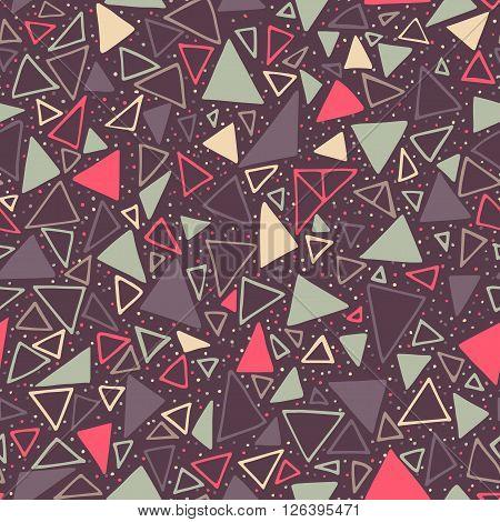 Geometric pattern. Seamless background with triangles and polka dots. Seamless background with triangles and polka dots. Endless dark background.