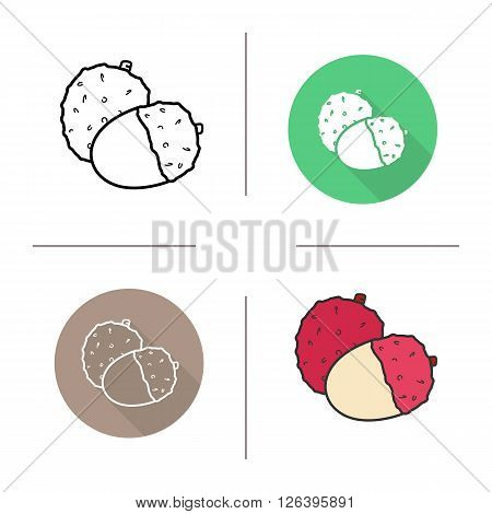 Lychee flat design, linear and color icons set. Ripe lichee icons. Sweet tropical fruit. Organic food. Long shadow logo concept. Isolated liechee vector illustrations. Infographic elements
