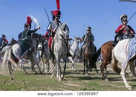 BAILEN SPAIN - october 5 2008: Taken in Bailen Jaen province during the commemoration of the anniversary of the battle of Bailen of 1808 Spanish and French soldiers body fights to body against swords mounted on horseback in the recreation of the battle of