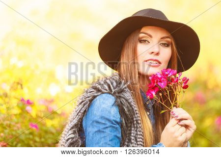 Young Lady Relaxing In Garden
