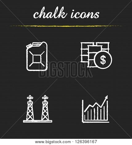 Oil industry chalk icons set. Petrol can and oil barrel. Diagram and oil rig icons. Petroleum trade. Oil and gas industry. White illustrations on blackboard. Vector chalkboard logo concepts