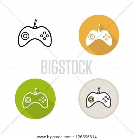Gamepad flat design, linear and color icons set. Joystick in different styles. Video games player equipment. Long shadow logo concept. Isolated vector illustrations. Infographic elements