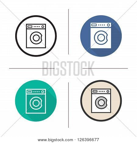 Washing machine flat design, linear and color icons set. Washer in different styles. Household electronic appliance. Long shadow logo concept. Isolated vector illustrations. Infographic elements