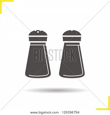 Salt and pepper shakers icon. Drop shadow salt and pepper shakers icon. Kitchenware. Isolated salt and pepper shakers black illustration. Logo concept. Vector silhouette salt and pepper shakers symbol