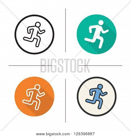 Runner flat design, linear and color icons set. Sprinter in different styles. Sport activity symbols. Long shadow logo concept. Isolated runner vector illustrations. Infographic elements