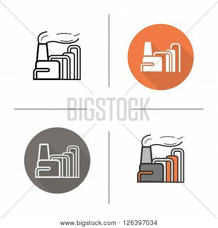 Factory flat design, linear and color icons set. Goods manufacturer. Industrial building. Production establishment. Long shadow logo concepts. Isolated vector illustrations. Infographic elements