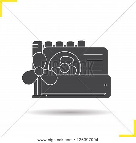 Conditioners icon. Drop shadow conditioners icon. Air conditioning household equipment. Isolated black conditioners illustration. Logo concept. Vector silhouette conditioners symbol