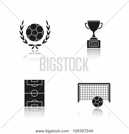 Soccer drop shadow black icons set. Soccer ball and football cup. Soccer field and goal icons. Football stadium. Winner trophy. International team sport. Logo concepts. Vector illustrations