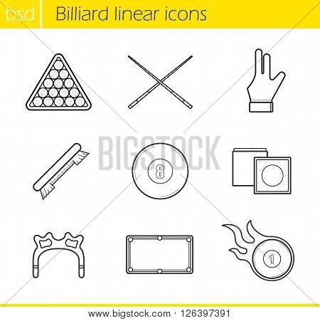Billiard accessories linear icons set. Cuesports equipment. Ball rack, billiard glove and eight ball. Billiard brush and burning ball. Thin line illustrations. Vector isolated outline drawings
