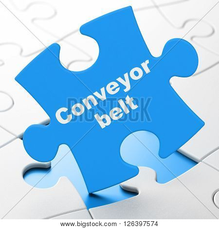 Manufacuring concept: Conveyor Belt on puzzle background