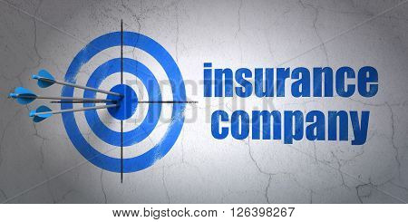 Insurance concept: target and Insurance Company on wall background