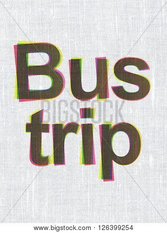 Tourism concept: Bus Trip on fabric texture background