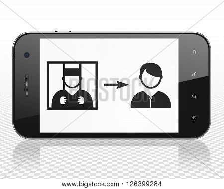Law concept: Smartphone with Criminal Freed on display