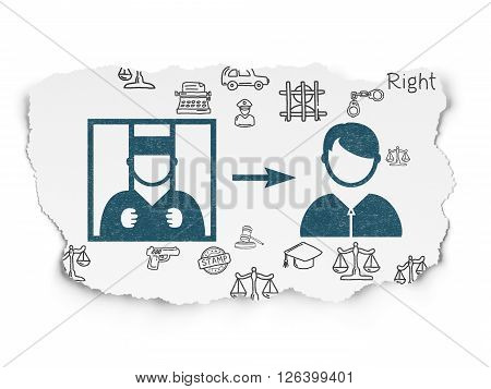 Law concept: Criminal Freed on Torn Paper background