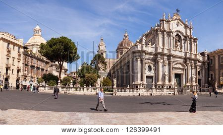 CATANIA ITALY - MARCH 31: View of Catania cathedral in Sicily on March 31 2016