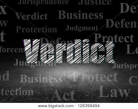 Law concept: Verdict in grunge dark room
