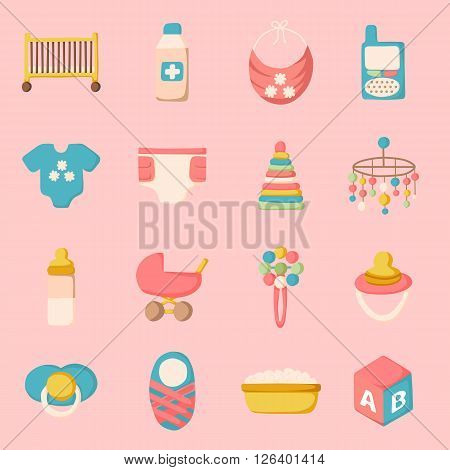 Vector newborn goods in cartoon style. Baby shower and newborn concept. Vector set with newborn goods for baby care design. Isolated newborn and baby care icons