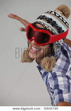 Young man Metis with snow mask