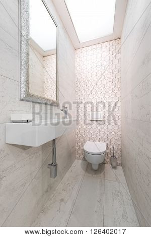 WC pan and lavatory in bathroom interior