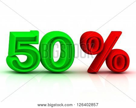 50 PERSENT business icon discount green and red keywords isolated on white background