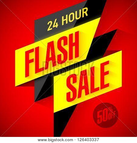 24 hour Flash Sale banner. Vector illustration.