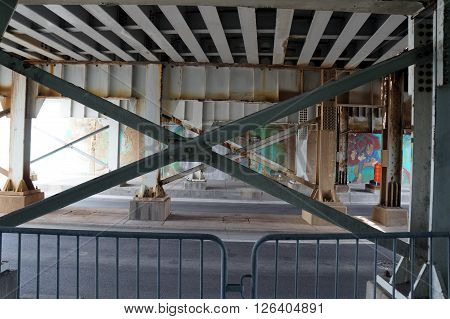 JOLIET, ILLINOIS / UNITED STATES - APRIL 12, 2015: Motorists and pedestrians may pass through the Jefferson Street Viaduct in downtown Joliet.