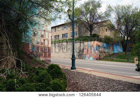 JOLIET, ILLINOIS / UNITED STATES - APRIL 19, 2015: The All Saints Greek Orthodox Church stands on a steep hill above Jefferson Street near downtown Joliet.