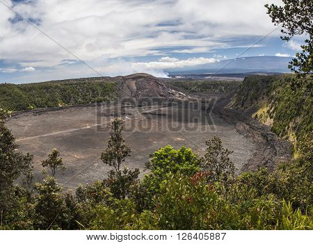 View of Kilauea Iki Crater in Volcanoes National Park on the Big Island Hawaii United States.