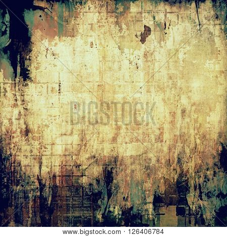 Old school elements on textured grunge background. With different color patterns: yellow (beige); brown; gray; green; blue; cyan