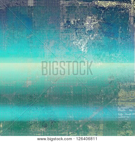 Background with dirty grunge texture, vintage style elements and different color patterns: gray; green; blue; white; cyan