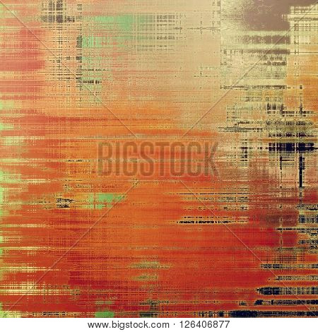 Old grungy stylish composition, vintage texture with different color patterns: yellow (beige); brown; gray; red (orange); green