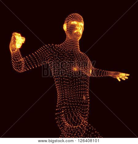 Fighting Man. 3D Model of Man. Human Body Model. Vector Graphics Composed of Particles.