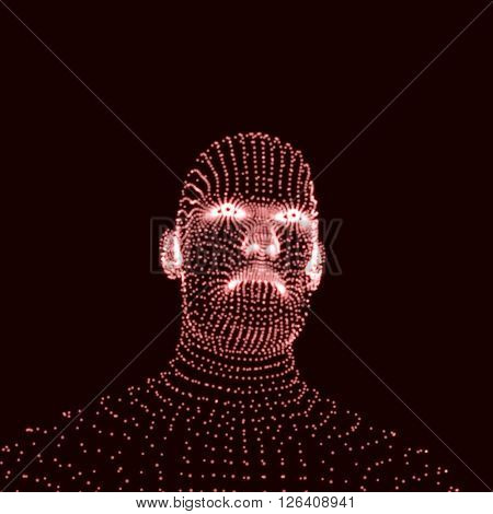 Head of the Person from a 3d Grid. Human Head Model. Face Scanning.