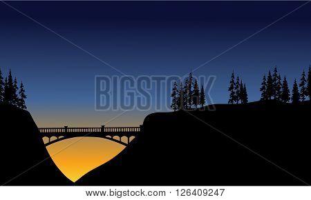 Bridge in cliff scenery at the night