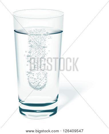 Vector Realistic Mineral Tablet Dissolves in Glass of Water Illustration isolated on white background