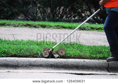 outdoor worker trimming the curb side lawn  edge