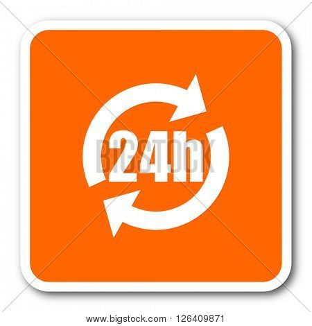 24h orange flat design modern web icon